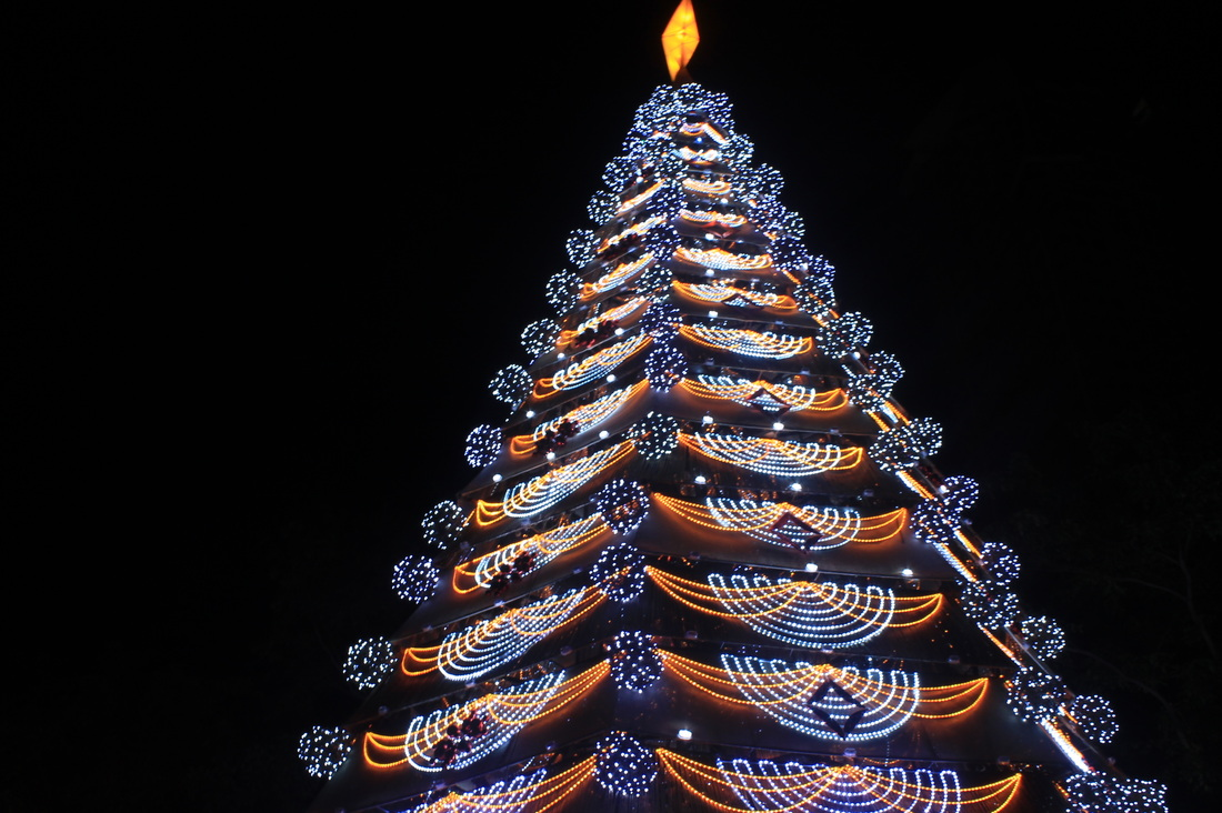 the trademark 14 foot christmas tree completes the paskuhan spirit